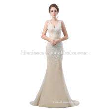 2018 new design net yearn sleeveless cheap evening dress backless long design evening silver dress