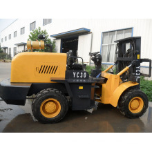 Rough Terrain Forklift with 3 Stage Mast and Hydraulic Transmission (CPCD30R)