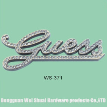 Alloy Accessory, Logo Covered with Artificial Diamonds, Label for Handbags