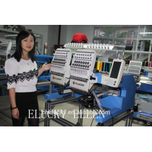 ELUCKY 2015 small scale 2heads Embroidery Machine for Cap/T-Shirt/Flat Embroidery