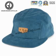 2016 hermosa azul cielo Snapback Camper Cap con insignia de cuero