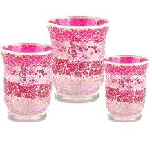 Розовый мозаичный стеклянный подсвечник