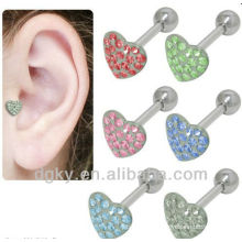 Boucle d'oreille de tragus de cartilage de coeur Labret en acier chirurgical