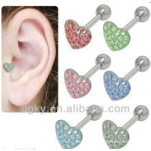 Aço Cirúrgico Coração Jeweled Labret Cartilage Tragus Earring