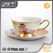 Hot-selling antique décalque fine chocolat en os chine expresso cup et saucer