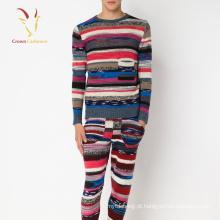 Pescoço em torno do pescoço listrado malha feia Pullover Sweater