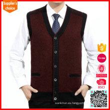 Venta caliente mens hecho punto chaleco de cuello de v de cuello de punto tejido suéter chaleco