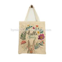 Wholesale printed jute linen tote bag with logo custom