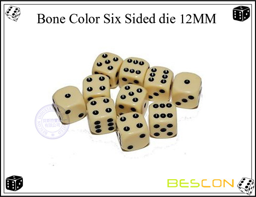 Bone color six sided die 12MM