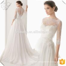 Alibaba Suzhou fábrica elegante rebordeados vestidos de novia nupcial Abrir espalda manga larga vestido nupcial