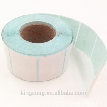 venda por atacado rolo de papel de etiqueta branca em branco personalizado
