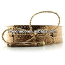 Alligator Pattern crack paillette dress belt patent leather snake beaded belt tassels string buckle