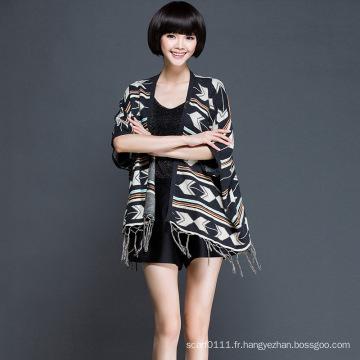Femmes mode acrylique tricoté frange cardigan (YKY2060)