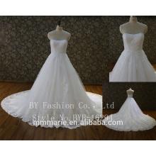 Moda lindas flor flores rastejam gaze do casamento que limpam um peito A princesa roupas de casamento romântico