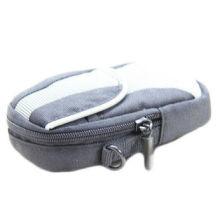 Fashion Canvas Slr Gray Portable Soft Velvet Nylon Camera Bag With Black Velcro