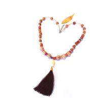 Handamde Buddha Holzperlen Quaste Halskette