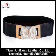 Cintura de cintura elástica cintura das senhoras de moda com fivela de strass