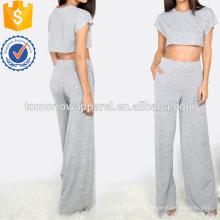 Crop Top avec des pantalons de poche à manches larges fabrication en gros de mode femmes vêtements (TA4022SS)