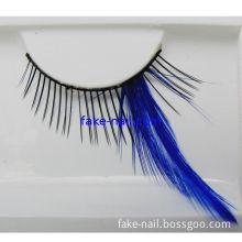 Oem And Odm  Natural False Eyelashes , Black Eyelash With Blue Feather