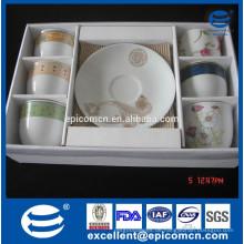 Keramik 6pcs Schalen und 6pcs Untertassen im PVC-Farbenkastengroßverkauf