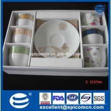 ceramic 6pcs cups and 6pcs saucers in PVC color box wholesale