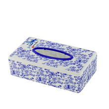 Blue and White Porcelain Printing Rectangle Tissue Box/Napkin Holder (FF-5053)