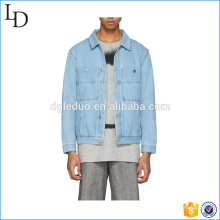 Two pocket on chest blue spring denim jean jacket mens washed jacket