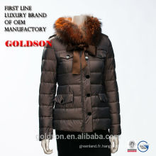 Femmes Bomber Outdoor Luxury Raccoon Fur Winter Down Jacket