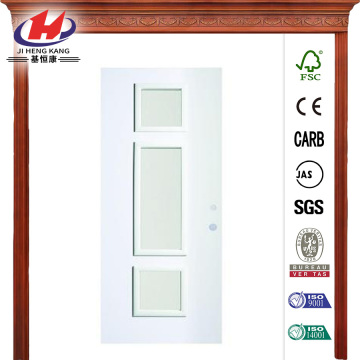 Opaque 3 Lite Prefinished White Steel Prehung Front Door