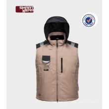 chaqueta de invierno de los hombres de la cremallera caliente chaleco de trabajo de chaleco acolchado para hombre