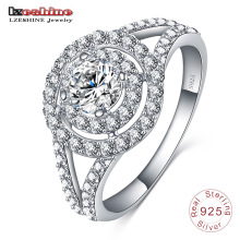 925 Stering Silver Circle Diamond Wedding Jewelry Ring (SRI0010-B)