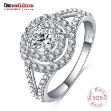 925 Стеринг Серебряный круг Алмаз обручальное кольцо ювелирных изделий (SRI0010-Б)