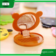 Gift Custom cartoon pocket mirror/cosmetic mirror/makeup double sided Plastic mirror with comb free sample