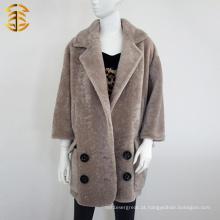 2017 Fábrica atacado mulheres personalizadas casacos reais casaco de pele de comprimento médio