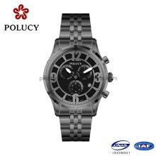 Relojes cronógrafo negro de acero inoxidable para hombre