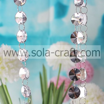 Spacer 18mm Lucite White Color Faux Acrylic Crystal Sun Prism Bead Garland For KTV Decoration