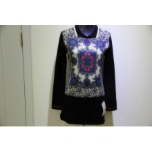 High quality print knitted 100% cashmere sweater women