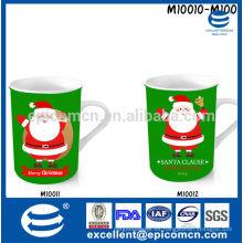 Cocina y comedor nuevo porcelana china de hueso brillante taza de café de porcelana rojo y verde 300-330ml para la Navidad