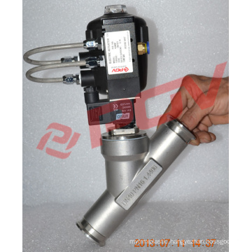 Pneumatic solenoid valve with plastic angle seat valve