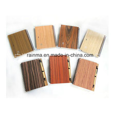Eco Spiral Wooden Notebook with Different Nature Wood Color