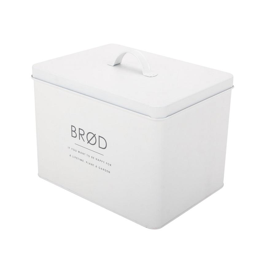 White vintage bread box