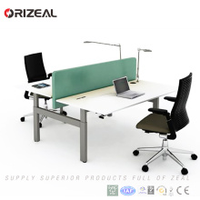 Electric sit stand face to face office computer desk with two seats double workstation desk