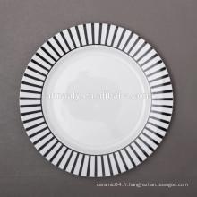 assiette en porcelaine de Chine, assiette de service, assiette à dîner moderne