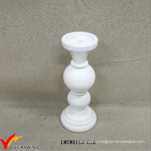 Retro White Solid Wood Pillar Candle Stand