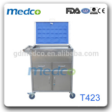 Hot! Hospital stainless steel emergency trolley,clinic trolley T423