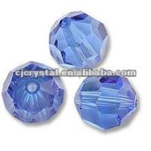 Perles en verre cristal bleu