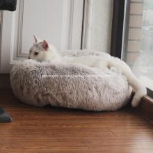 Толстый полный плюшевый мех круглый пончик Pet кровать