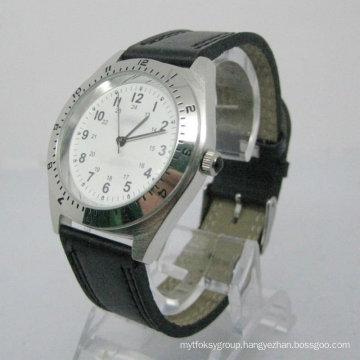 Stainless Steel Leather Strap Men′s Wrist Watch