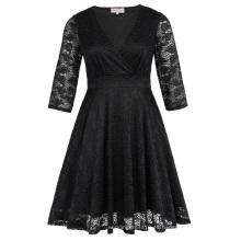 Hanna Nikole Womens más tamaño de tres cuartos de longitud manga V-cuello de encaje negro vestido de verano HN0022-1