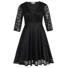 Hanna Nikole Womens Plus Size Three Quarter Length Sleeve V-Neck Black Lace Summer Dress HN0022-1